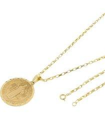 kit medalha são bento tudo joias com corrente cartier 2mm e 60cm folheado a ouro 18k