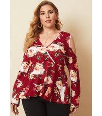plus talla abrigo con estampado floral y hombros descubiertos diseño blusa de manga larga