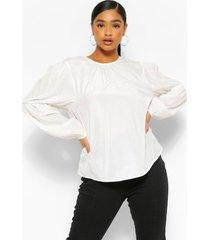 blouse met pofmouwen, ivoor
