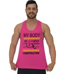 regata cavada masculina alto conceito meu corpo esta em construã§ã£o rosa choque - rosa - masculino - algodã£o - dafiti