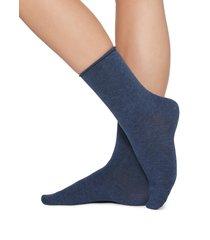 calzedonia - short cotton socks with comfort cut cuffs, 39-41, blue, women
