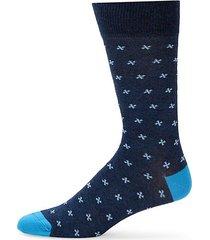 cross pattern crew socks