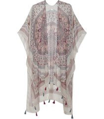 women's lightweight floral kimono with tassels ivory multi one size from sole society