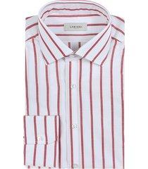 camicia da uomo su misura, albini, righe rosse zephyr, primavera estate   lanieri