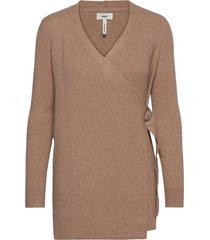 objfae thess l/s rib knit cardigan noos stickad tröja cardigan brun object