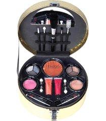 maleta de maquiagem fenzza fz40012 make up chic collection dourada - tricae
