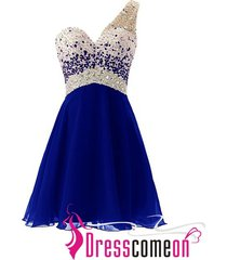 one shoulder sexy cocktail dress,royal blue short homecoming/prom dresses r350