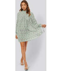 na-kd boho structured printed dress - blue