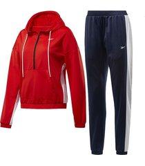 conjunto rojo reebok linear hoodie