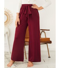 pantalones de cintura elástica de pierna ancha con diseño de amarre yoins