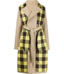 unravel project trench coat com recorte xadrez - neutro