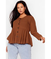 womens button the ball plus relaxed top - chocolate