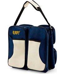 bolsa berço portátil baby bed & bag mala com trocador infantil bebê azul