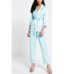 river island womens blue tie belted ruched sleeve blazer