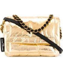 marc jacobs bolsa tiracolo pillow metálica - dourado