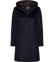 coats woven wollen jas lange jas blauw esprit collection