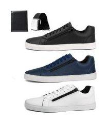 kit 3 pares sapatênis social sw shoes zíper + cinto e carteira preto/branco/azul