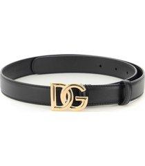 dolce & gabbana smooth calfskin logo belt