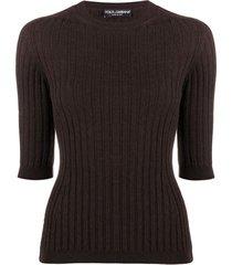 dolce & gabbana blusa de tricô canelado - marrom