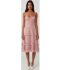 cherry bloom blush ruffle tiered dress