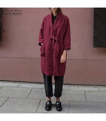 zanzea mujeres spring cardigan kimono tie up loose plus size tunic coat hot -rojo