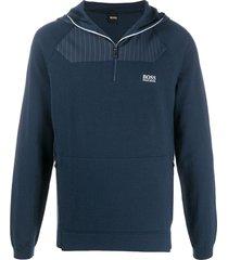 boss hugo boss half-zip fleece hoodie - blue