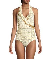 ganni women's ruffle one-piece swimsuit - beige - size 36 (4)