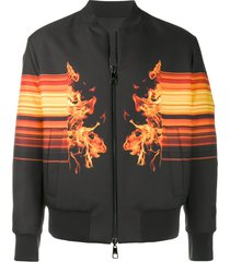neil barrett flame print bomber jacket - black