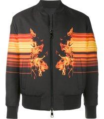 neil barrett flame print bomber jacket - black