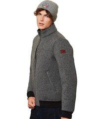 ribbed knit grey melange jacket