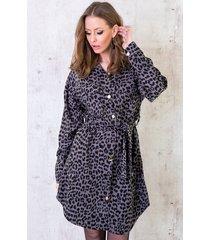 corduroy panterprint jurk grijs