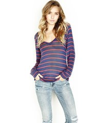 archie v-neck sweater - l navy stripes