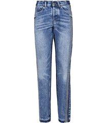 maison margiela frayed trim patched jeans