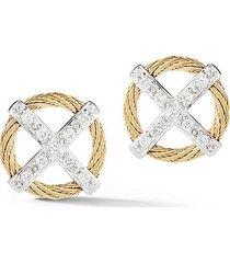 18k gold stainless steel & 0.15 tcw diamond stud earrings