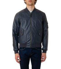 john elliott steel blue cotton bomber jacket