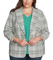 1.state trendy plus size plaid cassia blazer