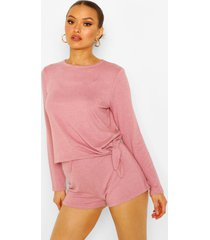 mix & match super soft tie lounge top, mauve