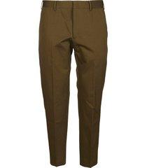 pt01 army green cotton-linen blend trousers