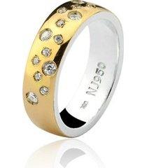 aliança mista ouro 18k e prata 925 elegance natalia joias alm-191