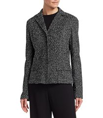 st. john women's textured bouclé tweed jacket - caviar white multi - size 10