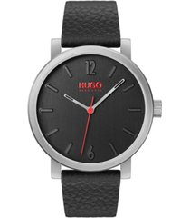 hugo men's #rase black leather strap watch 42mm
