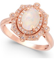 aurora by effy opal (5/8 ct. t.w.) and diamond (1/6 ct. t.w.) oval ring in 14k rose gold