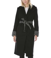 tahari plaid belted wrap coat