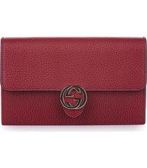 gucci interlocking g leather wallet on chain gray sz: