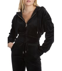 women's juicy couture velour ruched sleeve crop hoodie, size large - black