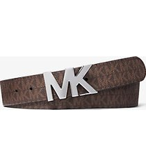 mk cintura reversibile con fibbia con logo - marrone/nero (marrone) - michael kors