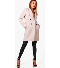 double breasted wool look coat, stone