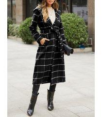 tela escocesa negra cinturón diseño abrigo tartán de manga larga