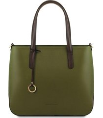 tuscany leather tl141791 penelope - borsa shopping in pelle verde oliva