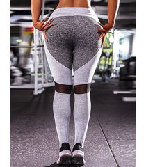 leggings de cintura alta con parche gris y bloques de color